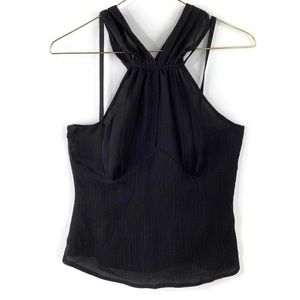 Etcetera Classic Silk Halter Top Black Blouse